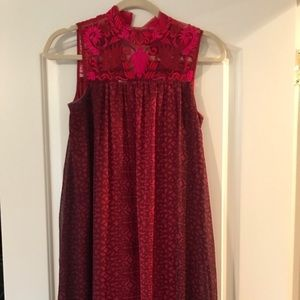 Anthropologie red lace high neck dress